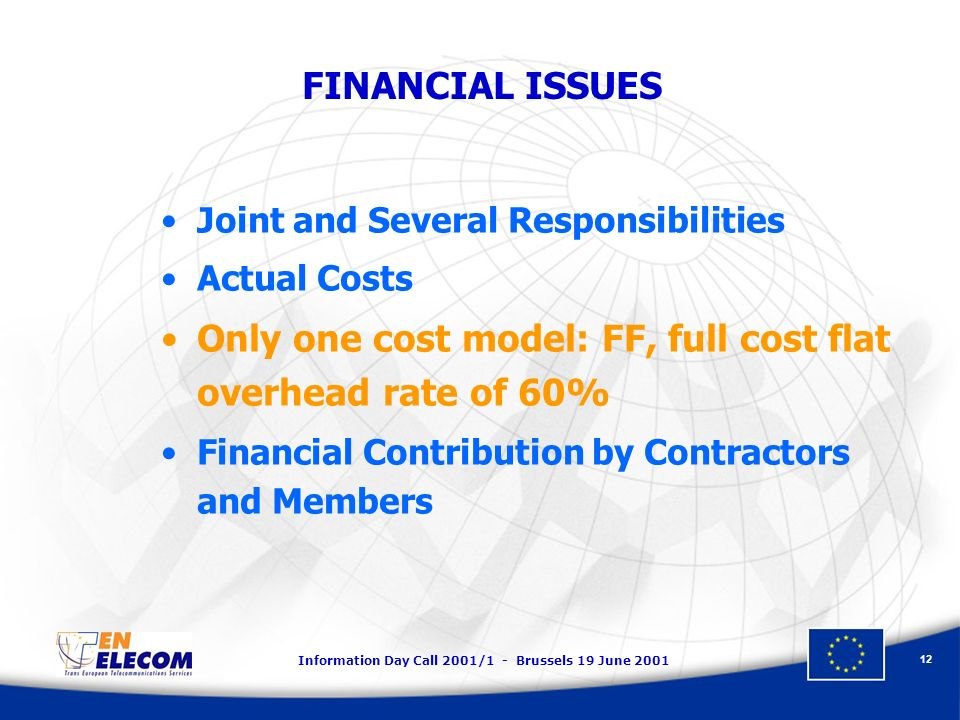 Information Day Call 2001/1 - Brussels 19 June 2001 12 FINANCIAL ISSUES Joint and Several Responsibilities Actual Costs Only one cost model: FF, full cost flat overhead rate of 60% Financial Contribution by Contractors and Members