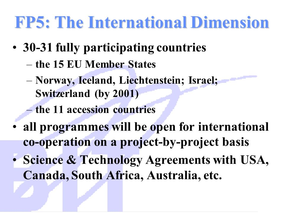 FP5: The International Dimension 30-31 fully participating countries –the 15 EU Member States –Norway, Iceland, Liechtenstein; Israel; Switzerland (by