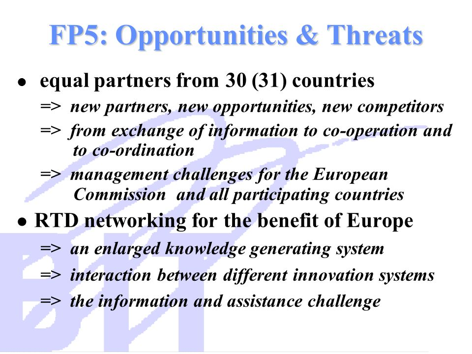 FP5: Opportunities & Threats equal partners from 30 (31) countries => new partners, new opportunities, new competitors => from exchange of information