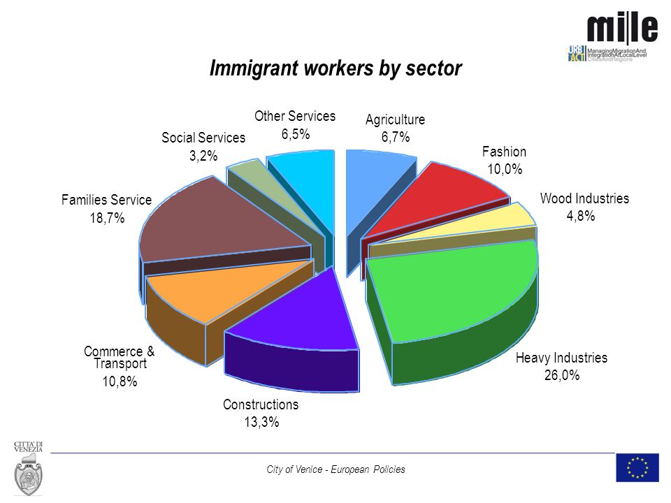 City of Venice - European Policies Immigrant workers by sector Agriculture 6,7% Fashion 10,0% Wood Industries 4,8% Heavy Industries 26,0% Constructions 13,3% Commerce & Transport 10,8% Families Service 18,7% Social Services 3,2% Other Services 6,5%