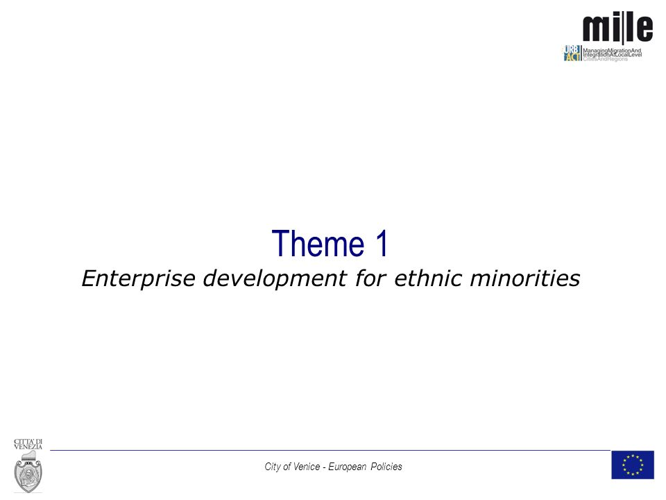 City of Venice - European Policies Theme 1 Enterprise development for ethnic minorities