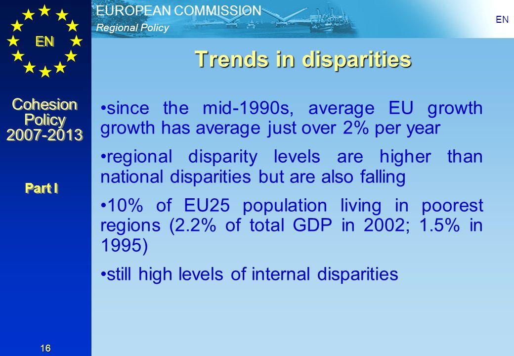 Regional Policy EUROPEAN COMMISSION EN Cohesion Policy 2007-2013 Cohesion Policy 2007-2013 EN 16 Trends in disparities since the mid-1990s, average EU