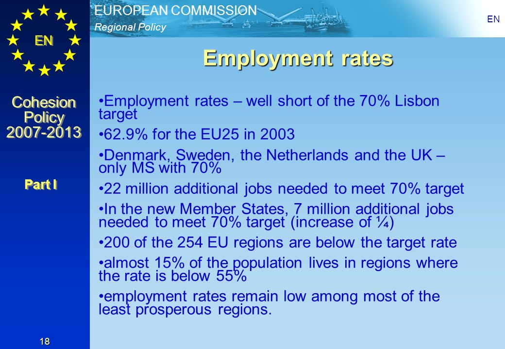 Regional Policy EUROPEAN COMMISSION EN Cohesion Policy 2007-2013 Cohesion Policy 2007-2013 EN 18 Employment rates Employment rates – well short of the