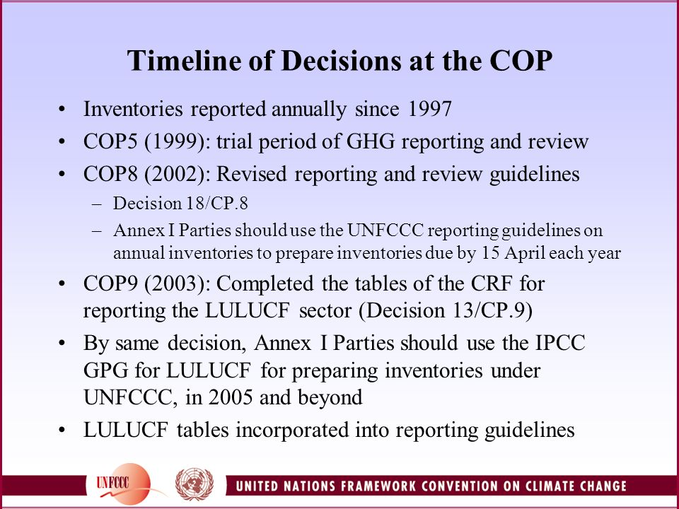 UNFCCC inventory reporting guidelines (FCCC/SBSTA/2004/8) Principles: transparency, consistency, comparability, completeness and accuracy Common Reporting Format and National Inventory Report Use of IPCC Guidelines and good practice guidance Detailed reporting of inventory data Description of methods Transparent reporting of recalculations