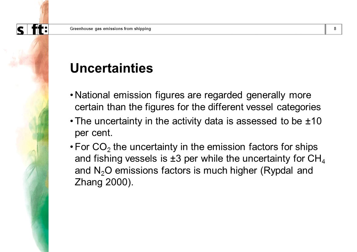 8Greenhouse gas emissions from shipping Uncertainties National emission figures are regarded generally more certain than the figures for the different vessel categories The uncertainty in the activity data is assessed to be ±10 per cent.