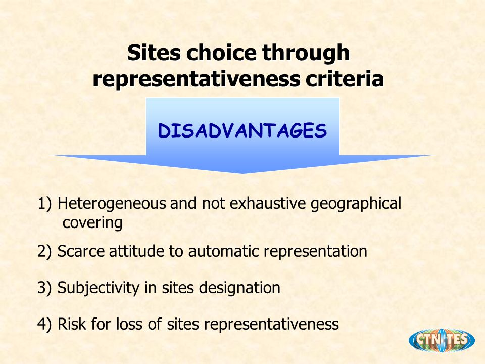 1) Heterogeneous and not exhaustive geographical covering 2) Scarce attitude to automatic representation 3) Subjectivity in sites designation 4) Risk for loss of sites representativeness DISADVANTAGES Sites choice through representativeness criteria