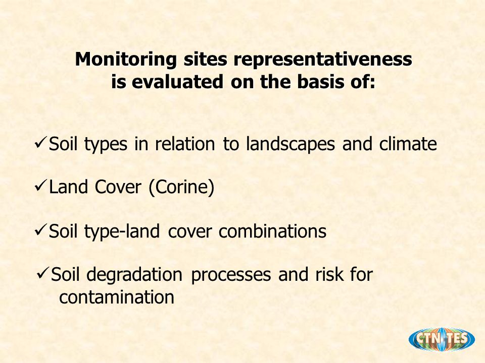Monitoring sites representativeness is evaluated on the basis of: Soil types in relation to landscapes and climate Land Cover (Corine) Soil type-land cover combinations Soil degradation processes and risk for contamination