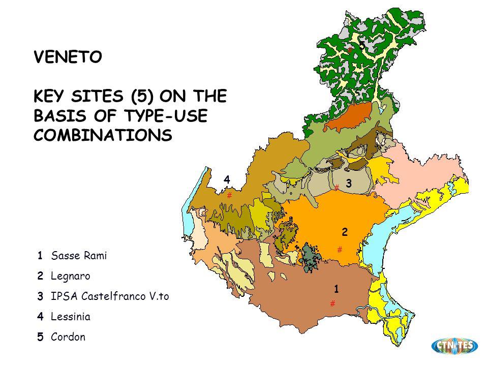 VENETO KEY SITES (5) ON THE BASIS OF TYPE-USE COMBINATIONS Cordon5 Lessinia4 IPSA Castelfranco V.to3 Legnaro2 Sasse Rami1 1 2 3 4 5