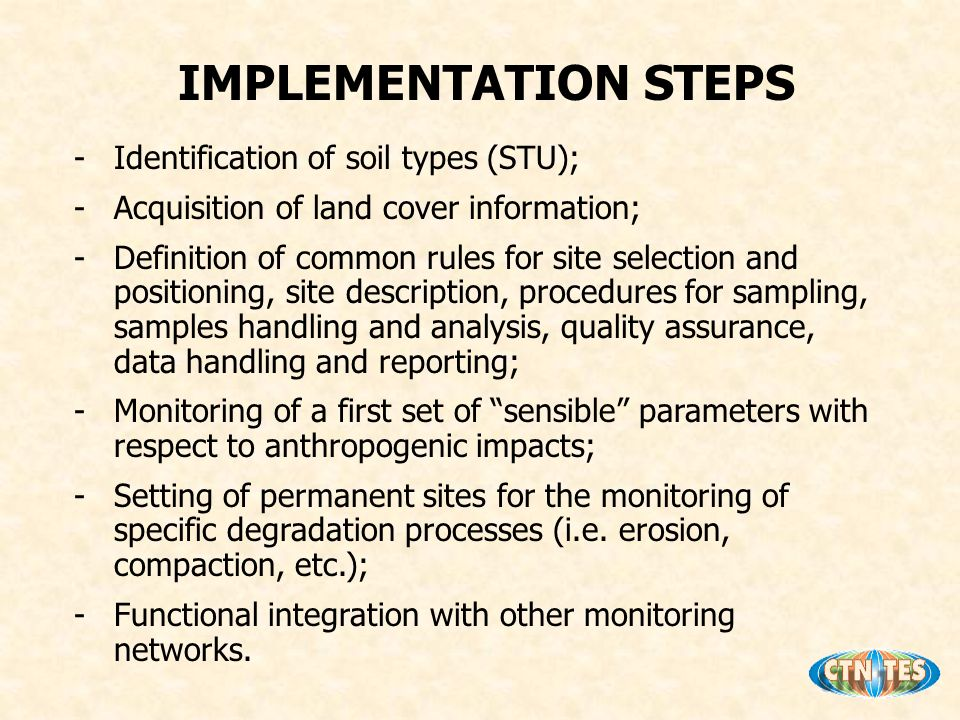 -Identification of soil types (STU); -Acquisition of land cover information; -Definition of common rules for site selection and positioning, site description, procedures for sampling, samples handling and analysis, quality assurance, data handling and reporting; -Monitoring of a first set of sensible parameters with respect to anthropogenic impacts; -Setting of permanent sites for the monitoring of specific degradation processes (i.e.