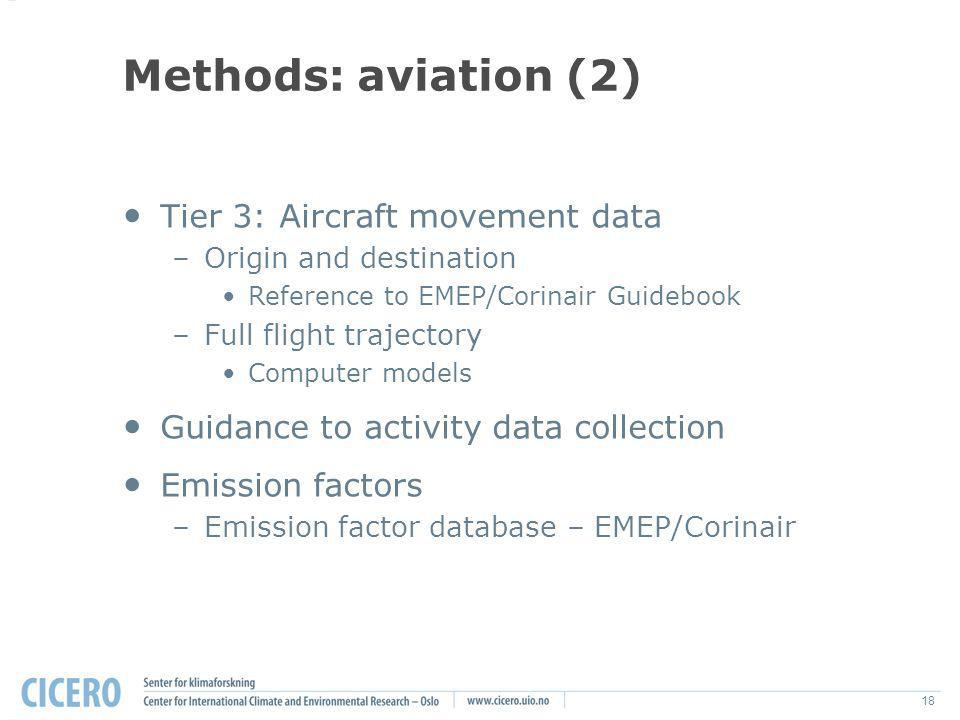 18 Methods: aviation (2) Tier 3: Aircraft movement data –Origin and destination Reference to EMEP/Corinair Guidebook –Full flight trajectory Computer