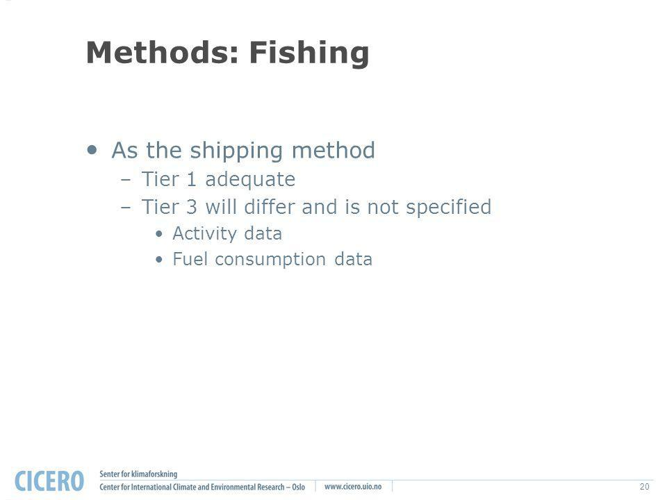 20 Methods: Fishing As the shipping method –Tier 1 adequate –Tier 3 will differ and is not specified Activity data Fuel consumption data