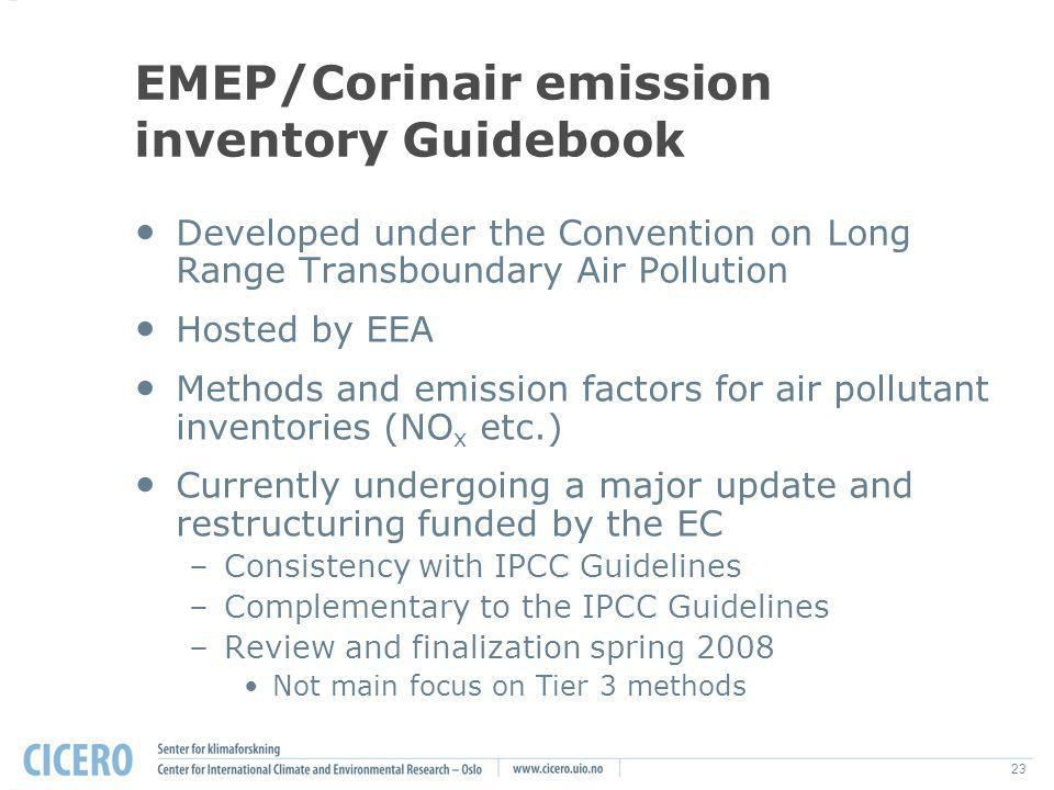 23 EMEP/Corinair emission inventory Guidebook Developed under the Convention on Long Range Transboundary Air Pollution Hosted by EEA Methods and emiss