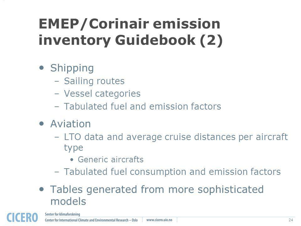 24 EMEP/Corinair emission inventory Guidebook (2) Shipping –Sailing routes –Vessel categories –Tabulated fuel and emission factors Aviation –LTO data