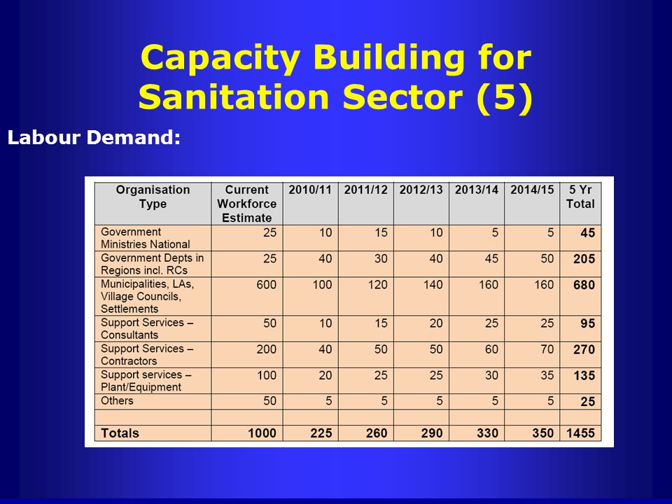 Capacity Building for Sanitation Sector (5) Labour Demand: