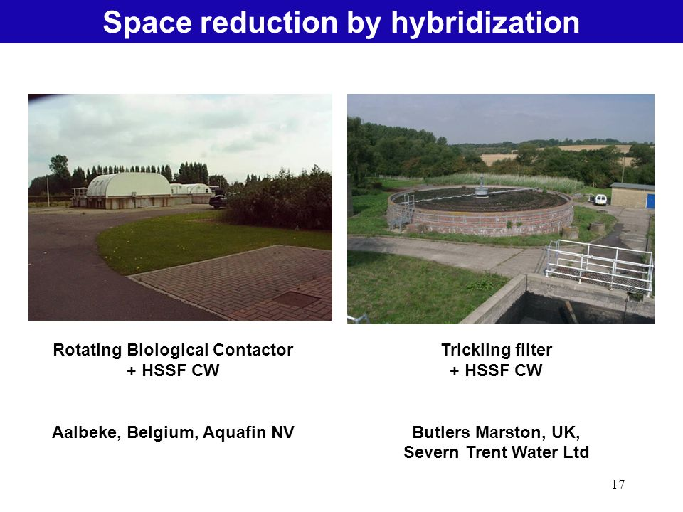 17 Natural Treatment SystemsSpace reduction by hybridization Rotating Biological Contactor + HSSF CW Aalbeke, Belgium, Aquafin NV Trickling filter + H
