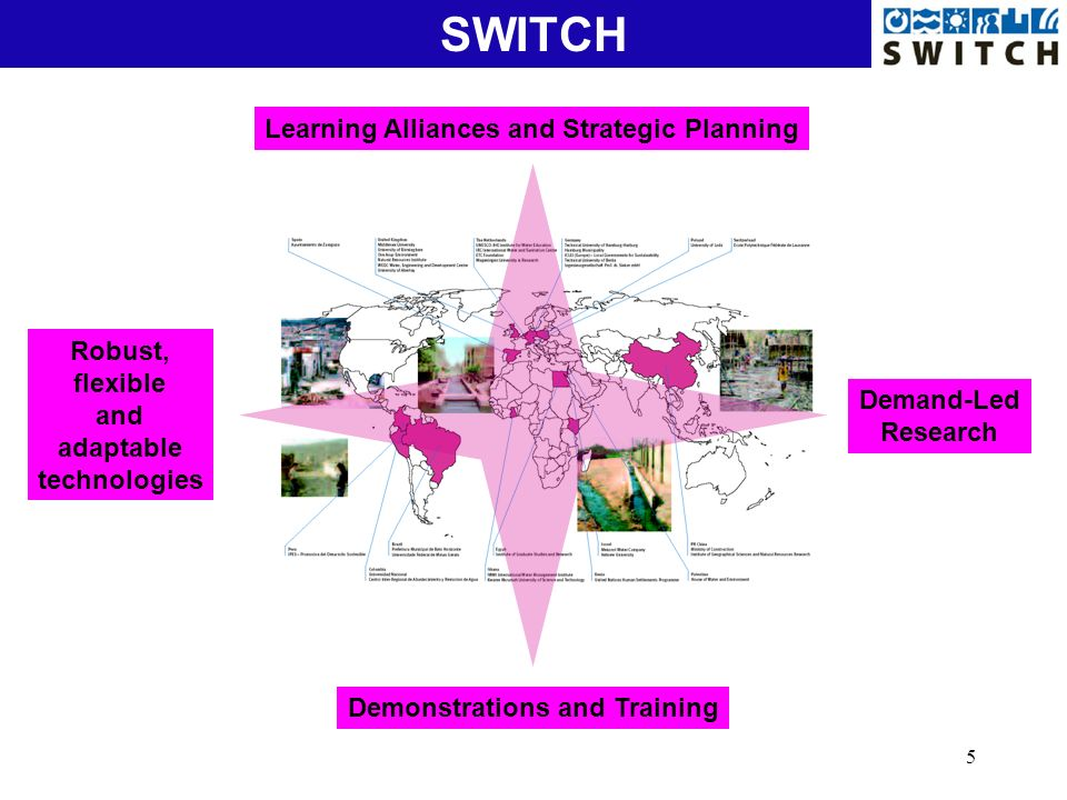 5 Natural Treatment SystemsSWITCH Learning Alliances and Strategic Planning Demand-Led Research Demonstrations and Training Robust, flexible and adapt