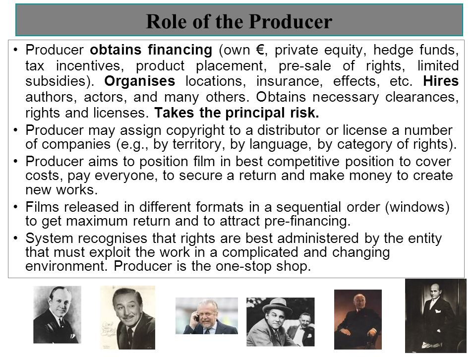 Role of the Producer Producer obtains financing (own, private equity, hedge funds, tax incentives, product placement, pre-sale of rights, limited subsidies).