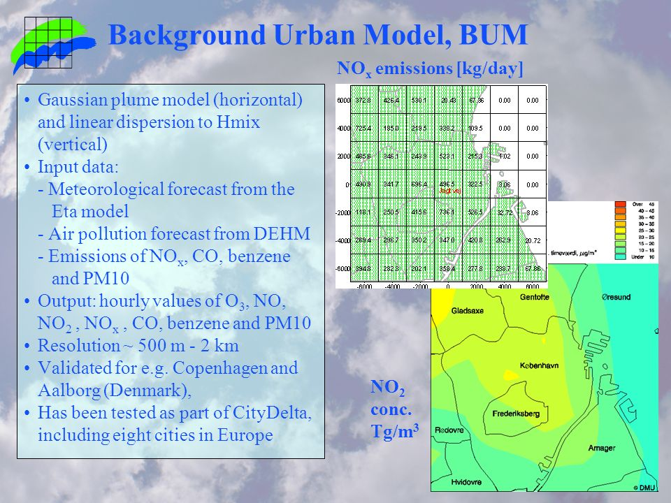 Background Urban Model, BUM Gaussian plume model (horizontal) and linear dispersion to Hmix (vertical) Input data: - Meteorological forecast from the Eta model - Air pollution forecast from DEHM - Emissions of NO x, CO, benzene and PM10 Output: hourly values of O 3, NO, NO 2, NO x, CO, benzene and PM10 Resolution ~ 500 m - 2 km Validated for e.g.