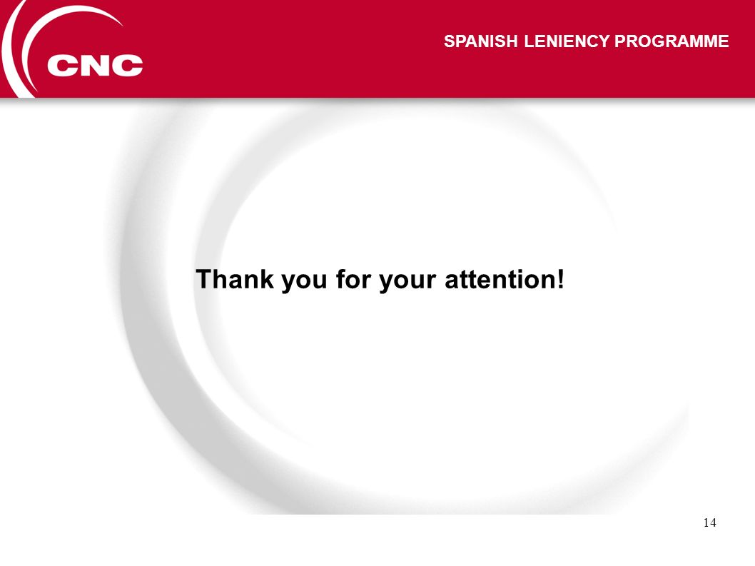 14 SPANISH LENIENCY PROGRAMME Thank you for your attention!