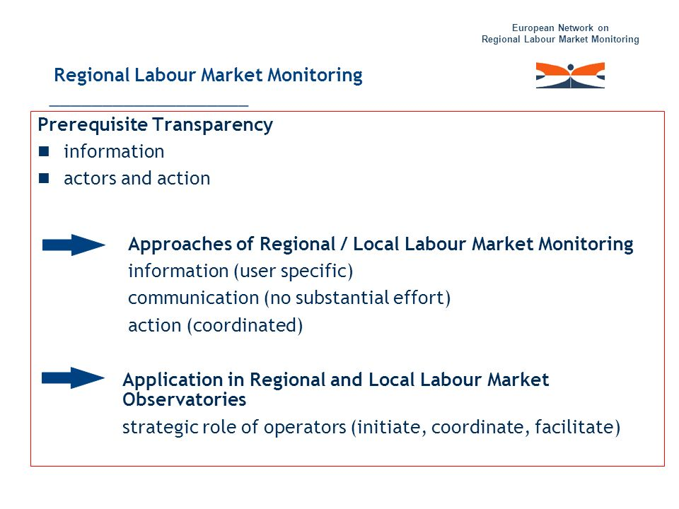 European Network on Regional Labour Market Monitoring Prerequisite Transparency information actors and action Approaches of Regional / Local Labour Ma