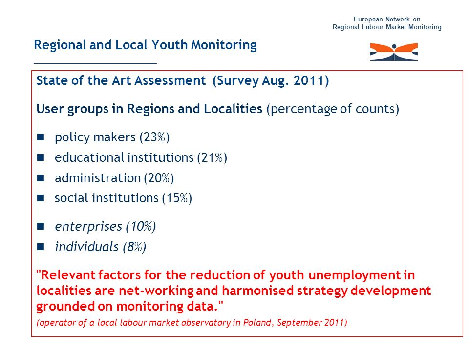 European Network on Regional Labour Market Monitoring Regional and Local Youth Monitoring _____________________ State of the Art Assessment (Survey Au