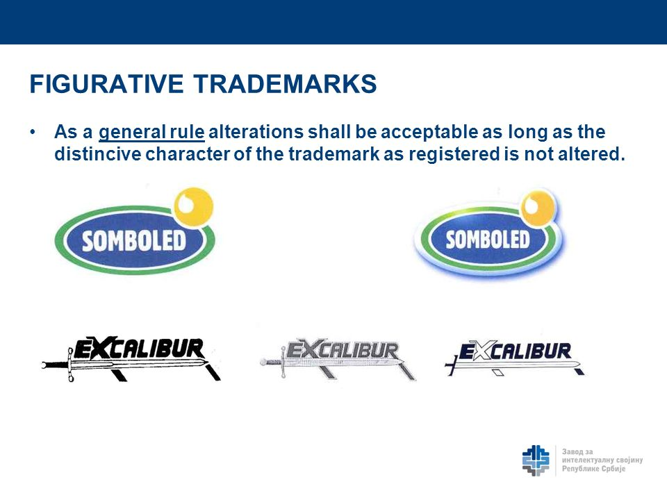 FIGURATIVE TRADEMARKS As a general rule alterations shall be acceptable as long as the distincive character of the trademark as registered is not alte