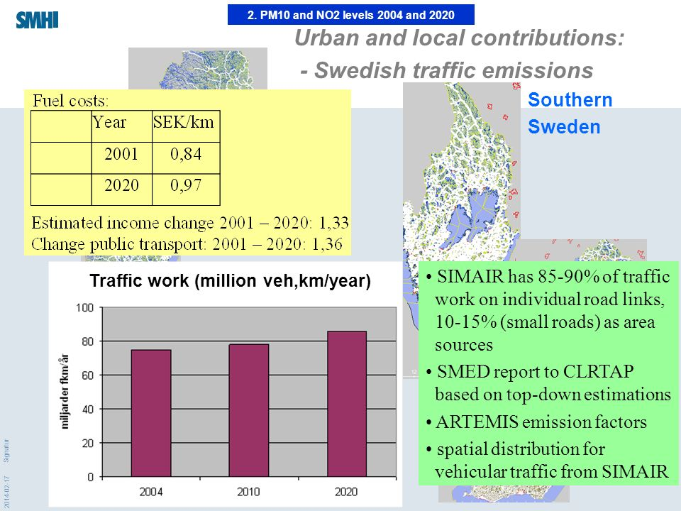 2014-02-17 Signatur 2. PM10 and NO2 levels 2004 and 2020 Urban and local contributions: - Swedish traffic emissions Northern Sweden Southern Sweden Tr