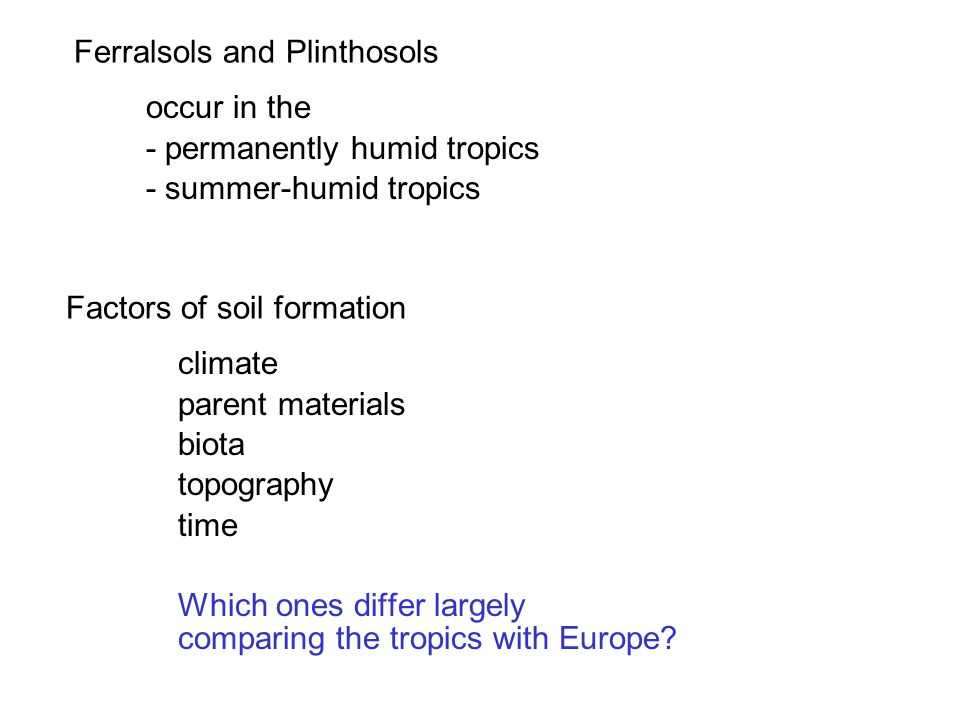 Factors of soil formation climate parent materials biota topography time Which ones differ largely comparing the tropics with Europe? Ferralsols and P