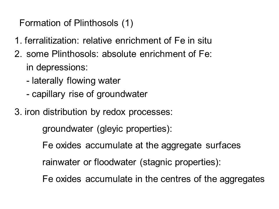 Formation of Plinthosols (1) 1. ferralitization: relative enrichment of Fe in situ 2.some Plinthosols: absolute enrichment of Fe: in depressions: - la