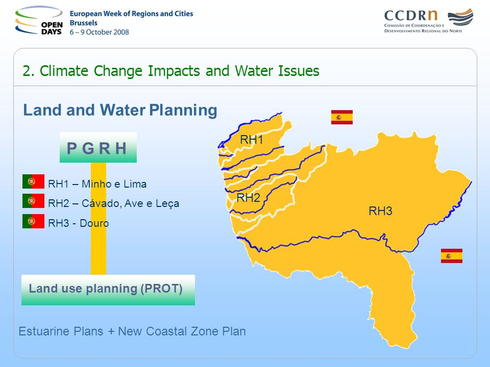 2. Climate Change Impacts and Water Issues P G R H Land and Water Planning RH1 – Minho e Lima RH2 – Cávado, Ave e Leça RH3 - Douro Land use planning (