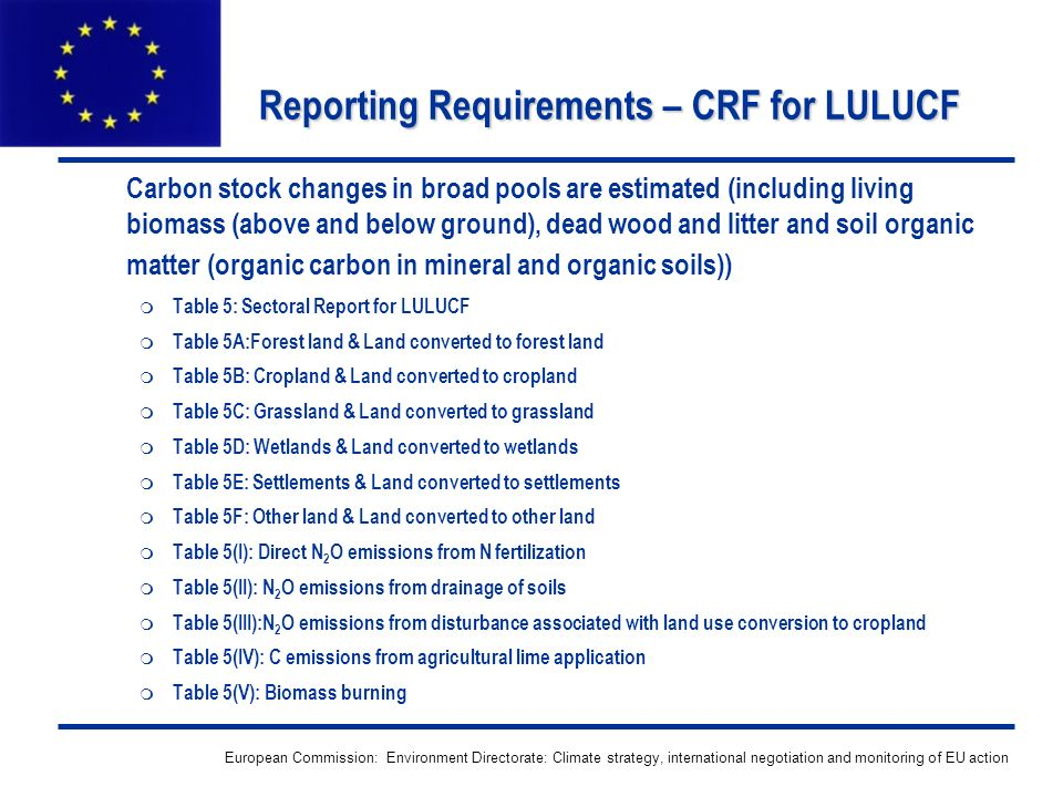 European Commission: Environment Directorate: Climate strategy, international negotiation and monitoring of EU action Reporting Requirements – CRF for LULUCF Carbon stock changes in broad pools are estimated (including living biomass (above and below ground), dead wood and litter and soil organic matter (organic carbon in mineral and organic soils)) Table 5: Sectoral Report for LULUCF Table 5A:Forest land & Land converted to forest land Table 5B: Cropland & Land converted to cropland Table 5C: Grassland & Land converted to grassland Table 5D: Wetlands & Land converted to wetlands Table 5E: Settlements & Land converted to settlements Table 5F: Other land & Land converted to other land Table 5(I): Direct N 2 O emissions from N fertilization Table 5(II): N 2 O emissions from drainage of soils Table 5(III):N 2 O emissions from disturbance associated with land use conversion to cropland Table 5(IV): C emissions from agricultural lime application Table 5(V): Biomass burning