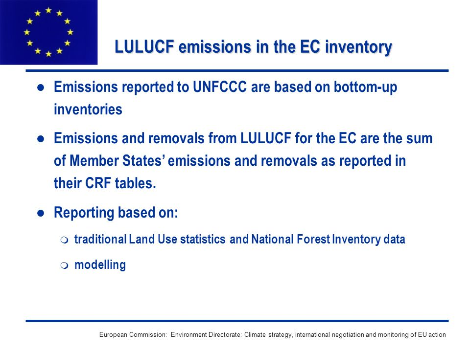 European Commission: Environment Directorate: Climate strategy, international negotiation and monitoring of EU action LULUCF emissions in the EC inven
