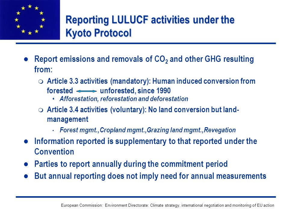 European Commission: Environment Directorate: Climate strategy, international negotiation and monitoring of EU action Reporting LULUCF activities unde