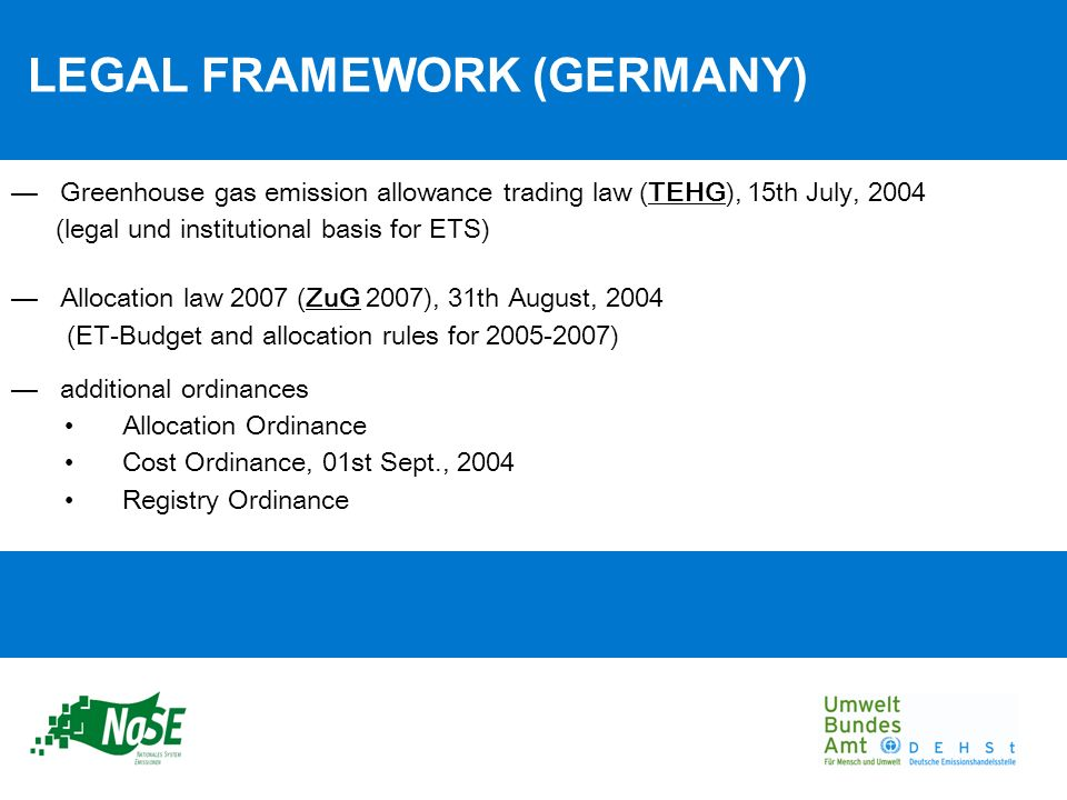 LEGAL FRAMEWORK (GERMANY) Greenhouse gas emission allowance trading law (TEHG), 15th July, 2004 (legal und institutional basis for ETS) Allocation law 2007 (ZuG 2007), 31th August, 2004 (ET-Budget and allocation rules for 2005-2007) additional ordinances Allocation Ordinance Cost Ordinance, 01st Sept., 2004 Registry Ordinance