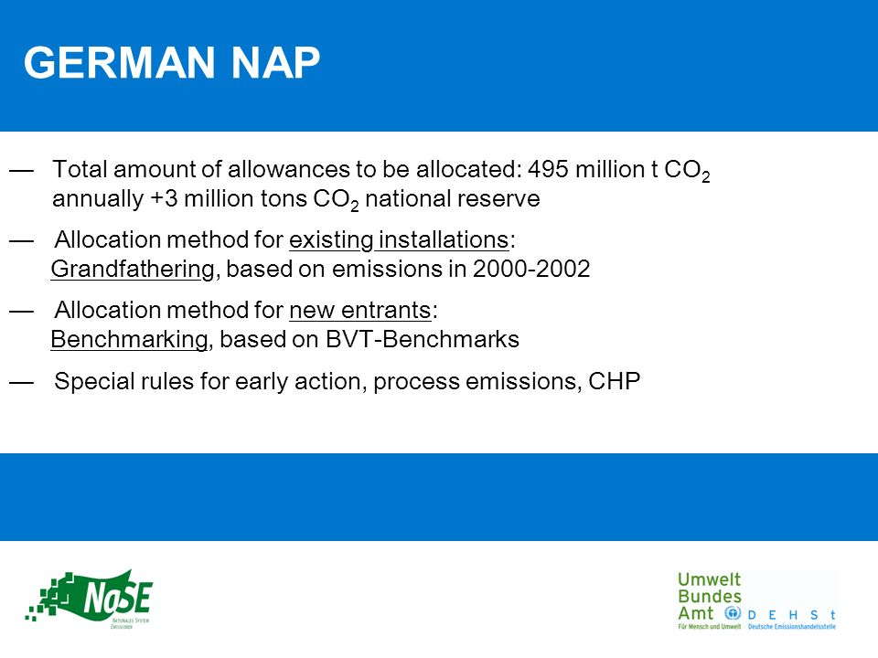 GERMAN NAP Total amount of allowances to be allocated: 495 million t CO 2 annually +3 million tons CO 2 national reserve Allocation method for existing installations: Grandfathering, based on emissions in 2000-2002 Allocation method for new entrants: Benchmarking, based on BVT-Benchmarks Special rules for early action, process emissions, CHP