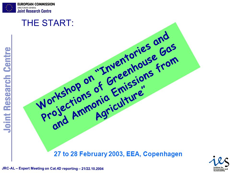 JRC-AL – Expert Meeting on Cat.4D reporting – 21/22.10.2004 THE START: 27 to 28 February 2003, EEA, Copenhagen Workshop on Inventories and Projections of Greenhouse Gas and Ammonia Emissions from Agriculture