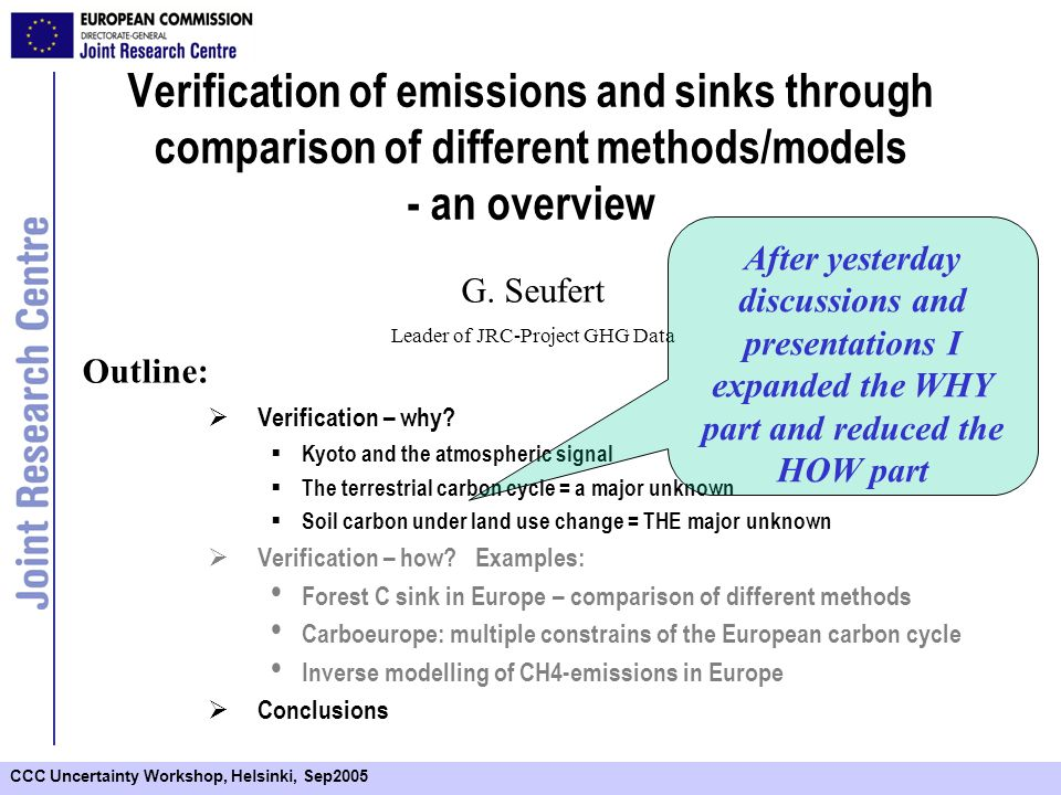 CCC Uncertainty Workshop, Helsinki, Sep2005 Verification of emissions and sinks through comparison of different methods/models - an overview Verification – why.