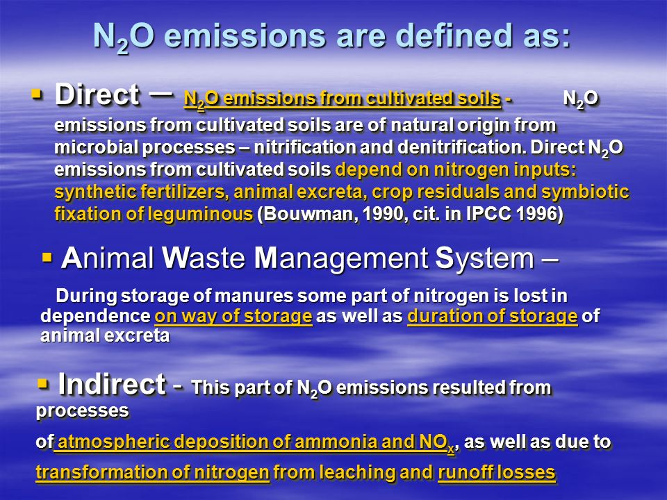 N 2 O emissions are defined as: Direct – N 2 O emissions from cultivated soils -N 2 O emissions from cultivated soils are of natural origin from microbial processes – nitrification and denitrification.