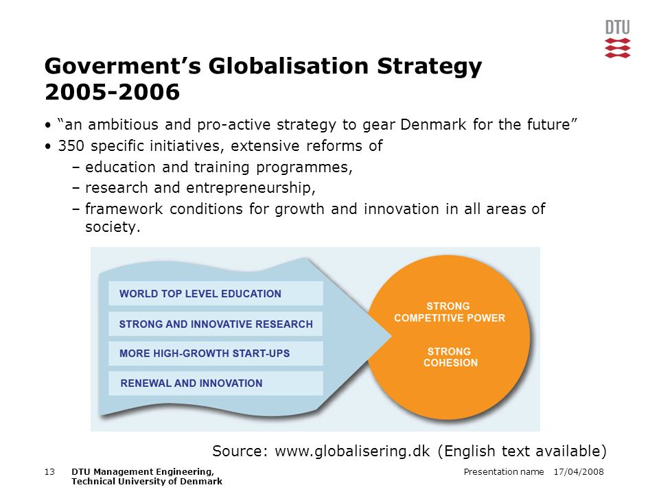 17/04/2008Presentation name13DTU Management Engineering, Technical University of Denmark Goverments Globalisation Strategy 2005-2006 an ambitious and pro-active strategy to gear Denmark for the future 350 specific initiatives, extensive reforms of –education and training programmes, –research and entrepreneurship, –framework conditions for growth and innovation in all areas of society.