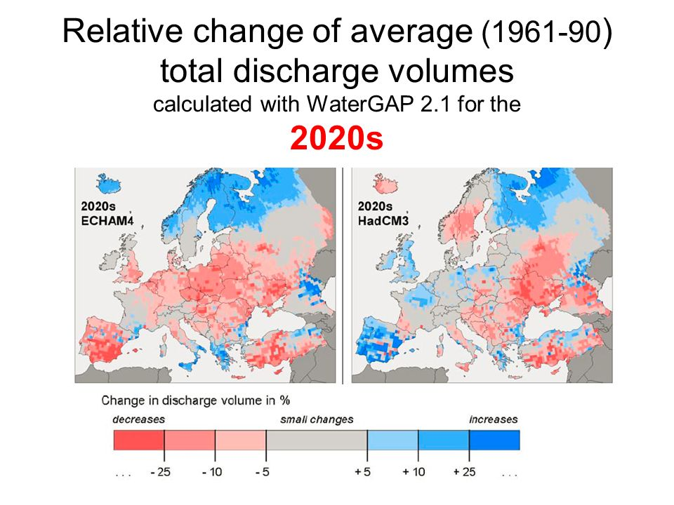 Relative change of average (1961-90 ) total discharge volumes calculated with WaterGAP 2.1 for the 2020s