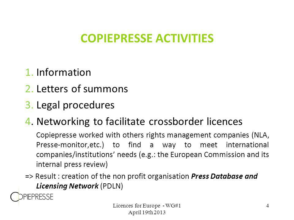 COPIEPRESSE ACTIVITIES 1. Information 2. Letters of summons 3. Legal procedures 4. Networking to facilitate crossborder licences Copiepresse worked wi