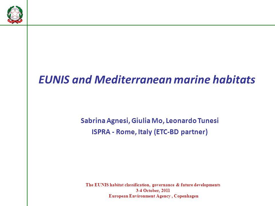 EUNIS and Mediterranean marine habitats Sabrina Agnesi, Giulia Mo, Leonardo Tunesi ISPRA - Rome, Italy (ETC-BD partner) The EUNIS habitat classificati
