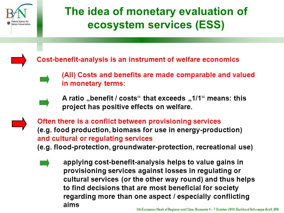 The idea of monetary evaluation of ecosystem services (ESS) applying cost-benefit-analysis helps to value gains in provisioning services against losse