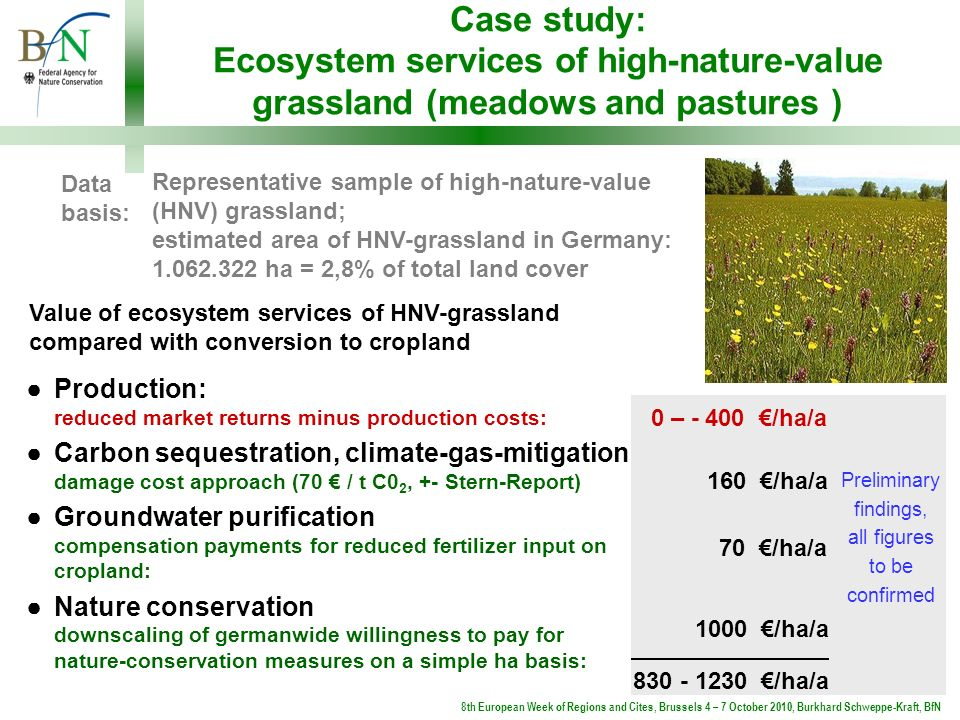 Case study: Ecosystem services of high-nature-value grassland (meadows and pastures ) Data basis: Representative sample of high-nature-value (HNV) gra