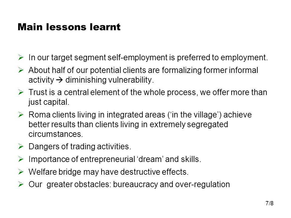 Main lessons learnt In our target segment self-employment is preferred to employment.