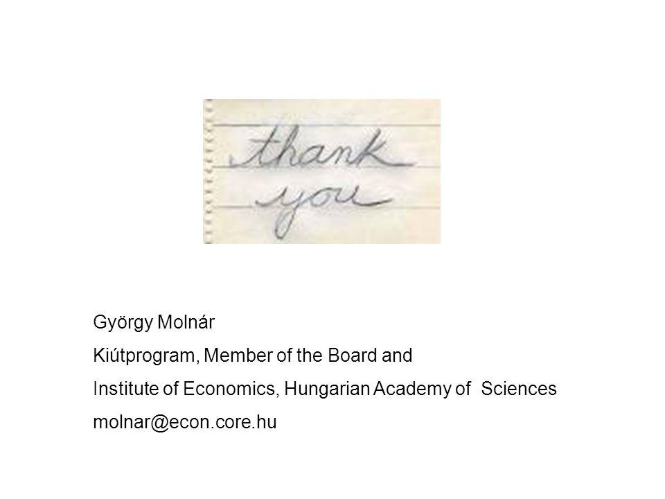 György Molnár Kiútprogram, Member of the Board and Institute of Economics, Hungarian Academy of Sciences molnar@econ.core.hu