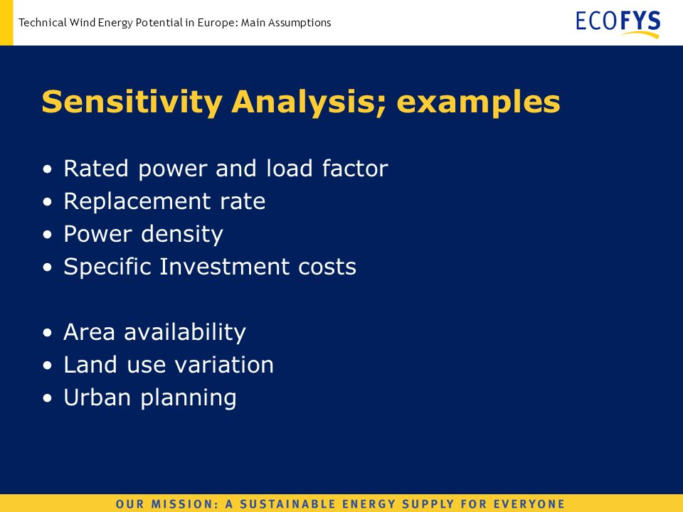 Technical Wind Energy Potential in Europe: Main Assumptions Sensitivity Analysis; examples Rated power and load factor Replacement rate Power density Specific Investment costs Area availability Land use variation Urban planning
