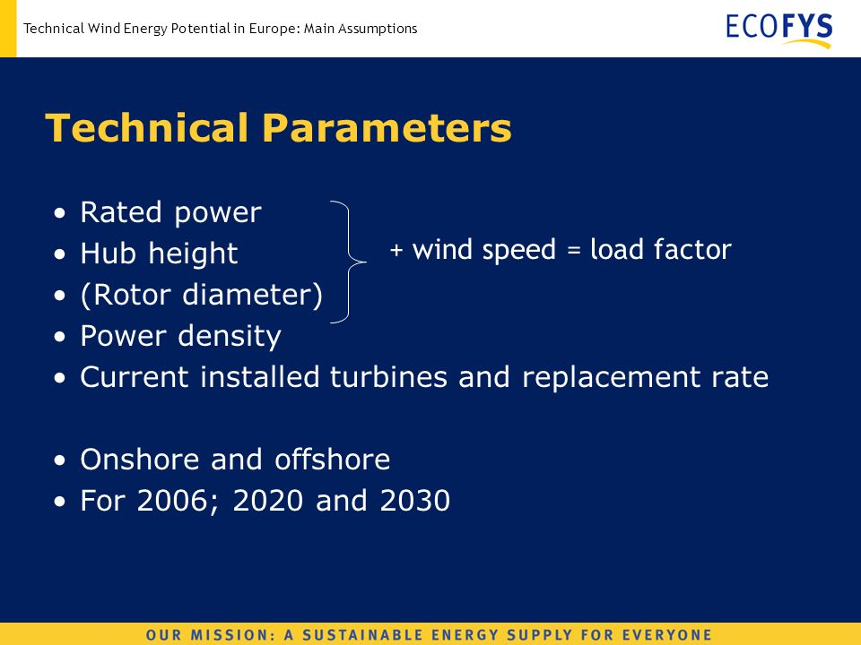 Technical Wind Energy Potential in Europe: Main Assumptions Technical Parameters Rated power Hub height (Rotor diameter) Power density Current installed turbines and replacement rate Onshore and offshore For 2006; 2020 and 2030 + wind speed = load factor