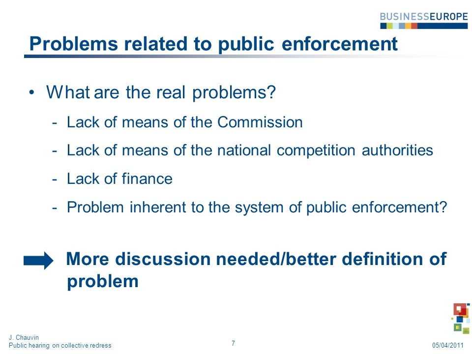 Problems related to public enforcement What are the real problems.