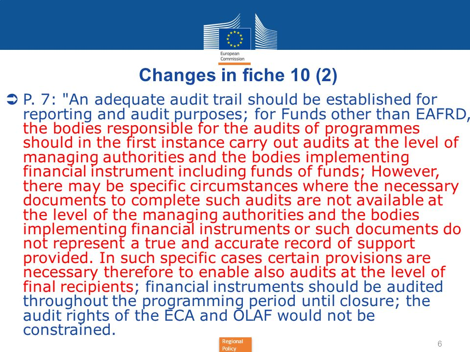 Regional Policy Changes in fiche 10 (2) P. 7: